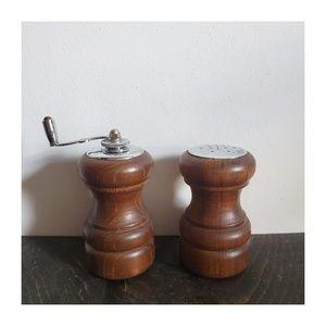 Vintage Wood Salt Shaker and Pepper Mill Set